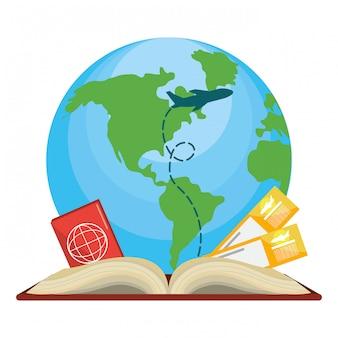 旅行アイテムと本のアイコン