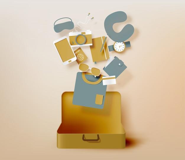 Travel items packing list paper art style vector illustration set