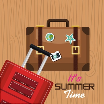 Travel its time summer suitcase vacation design
