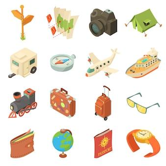 여행 여행 아이콘을 설정합니다. 웹에 대 한 16 여행 여행 벡터 아이콘의 아이소 메트릭 그림