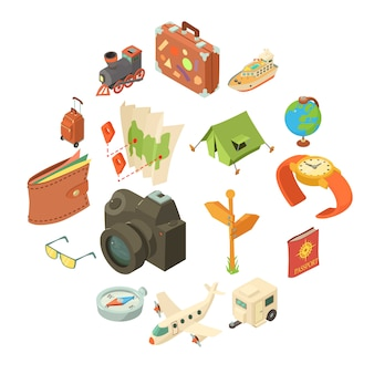 Travel journey icons set, isometric style