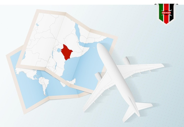 Travel to kenya, top view airplane with map and flag of kenya.