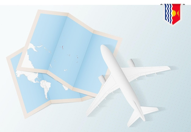 Travel to kiribati, top view airplane with map and flag of kiribati.