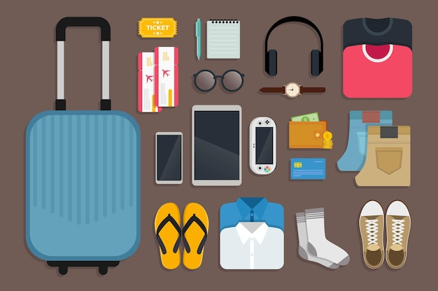 즐겁고 행복한 여행 일러스트레이션을위한 여행 키트 및 여행 도구