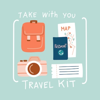 Travel kit hand drawn doodle icons and lettering tourist items passport ticket backpack photo camera