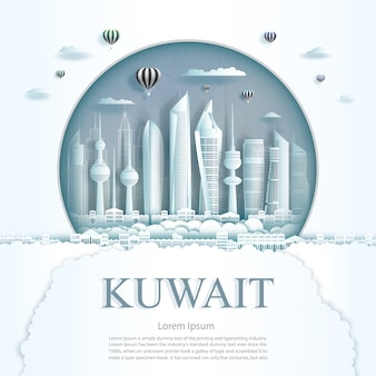 Travel kuwait monument in kuwait city modern building in circle texture background.
