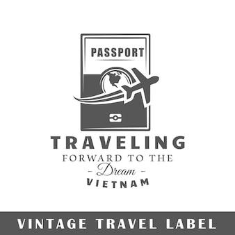 白い背景で隔離の旅行ラベル。デザイン要素。ロゴ、看板、ブランディングデザインのテンプレート。