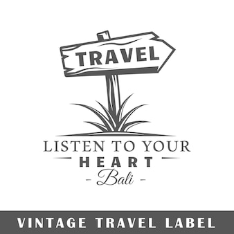 Этикетка путешествия, изолированные на белом фоне