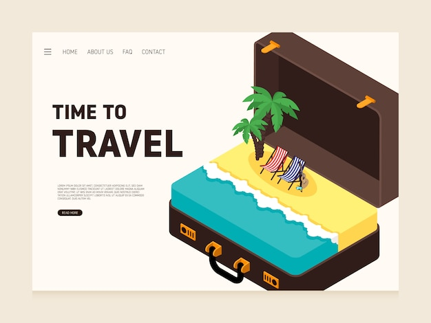 Travel landing page design template decorative with big luggage and sea modern flat design