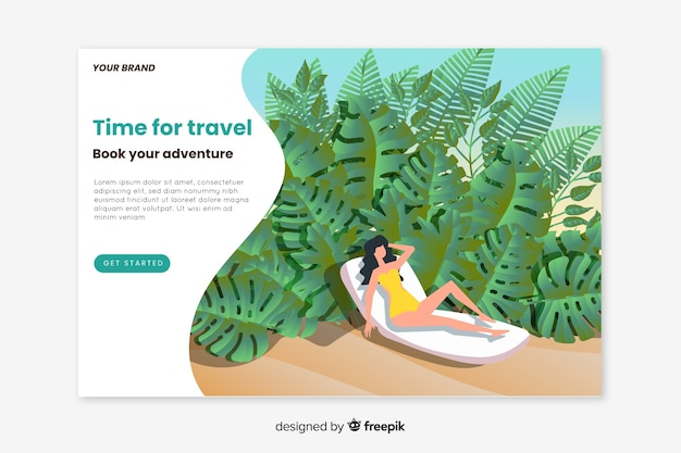 Travel landing page flat design