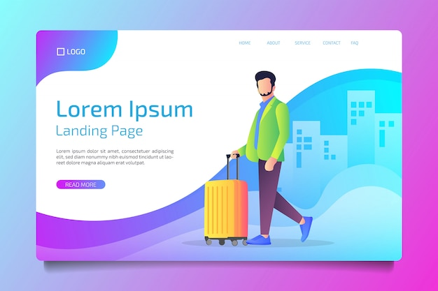 Travel landing page in flat style