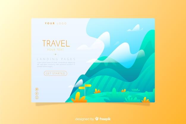 Travel landing page flat style
