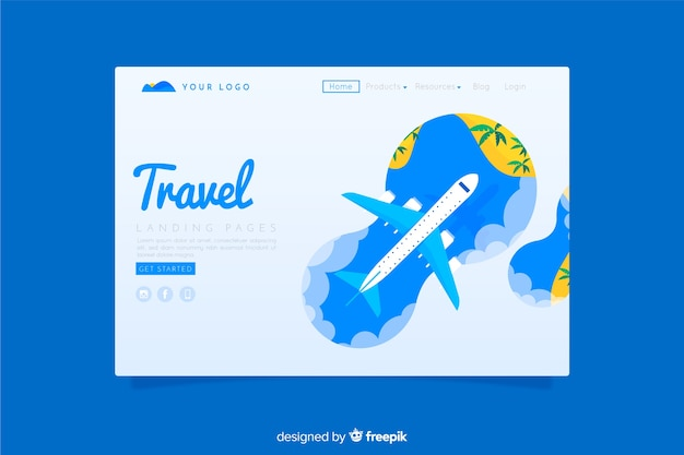 Travel landing page flat style
