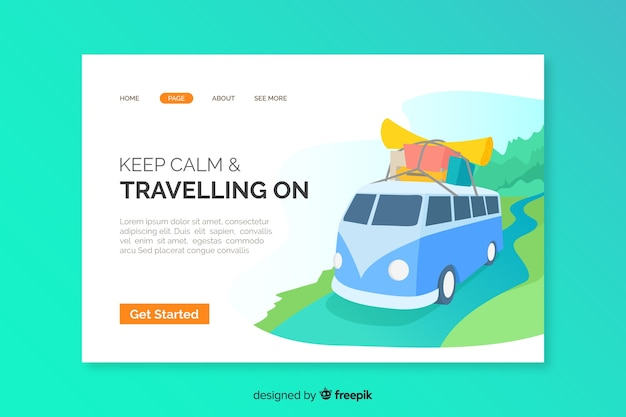 Travel landing page illustrated