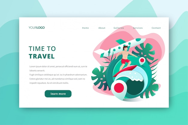 Travel landing page illustration with summer surfing theme