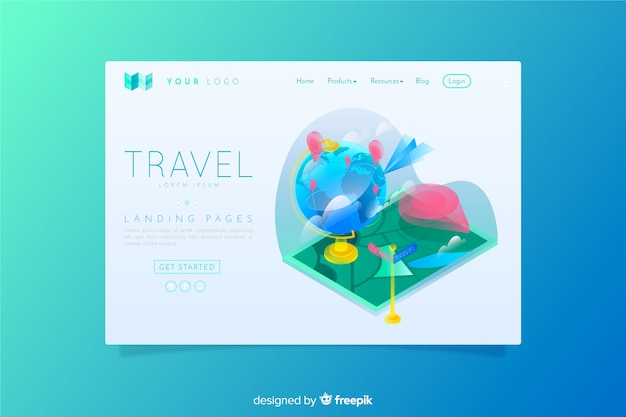Travel landing page isometric style