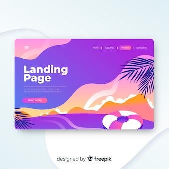 Travel landing page template, beautiful design