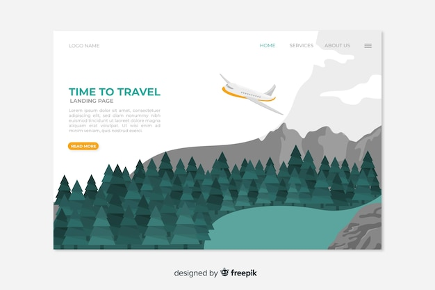 Travel landing page template concept