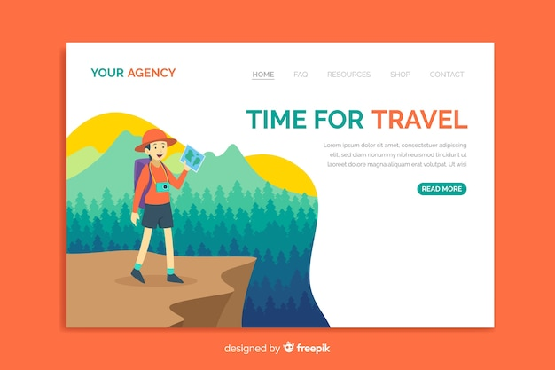 Travel landing page template with natural landscape