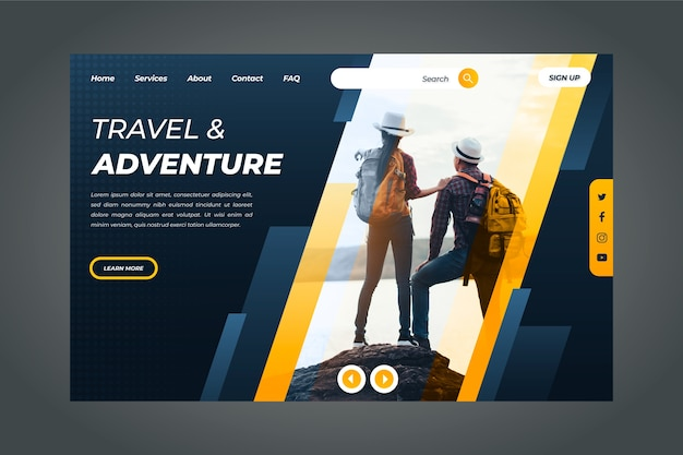 Travel landing page template with photo