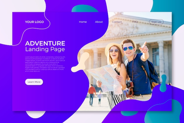Travel landing page template with picture