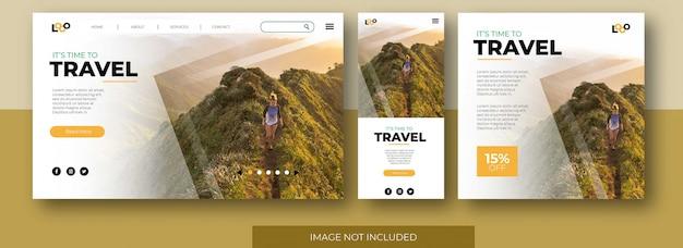 Веб-сайт целевой страницы путешествия, экран приложения и шаблон поста в социальных сетях с девушкой в поход в горы