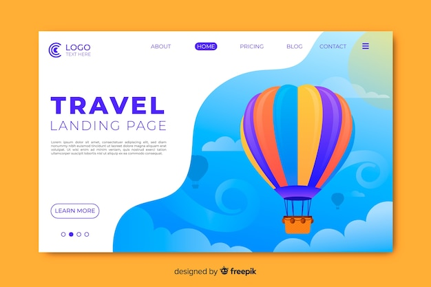 Travel landing page wit hot air balloon