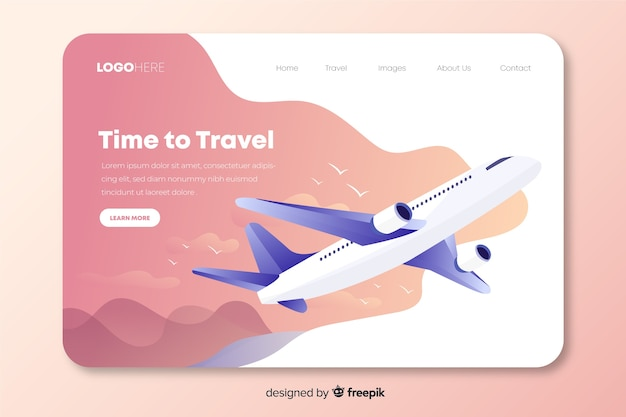 Travel landing page with an airplane