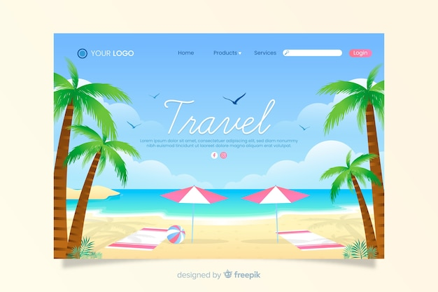 Travel landing page with beach