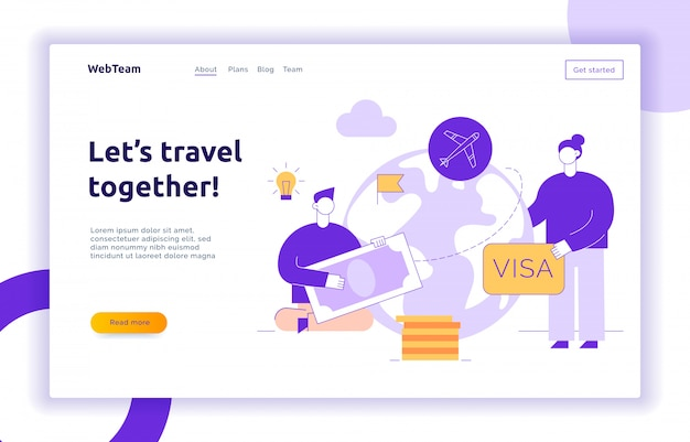 Travel landing page with big modern people, man and woman traveling around the world.