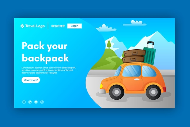 Travel landing page with illustration