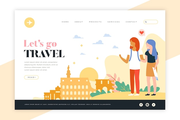 Travel landing page with illustrations