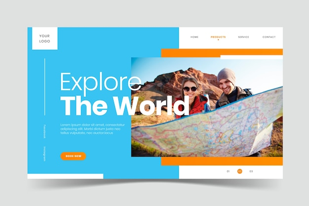 Travel landing page with image