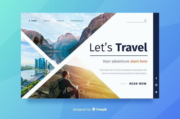 Travel landing page with man looking in the horizon