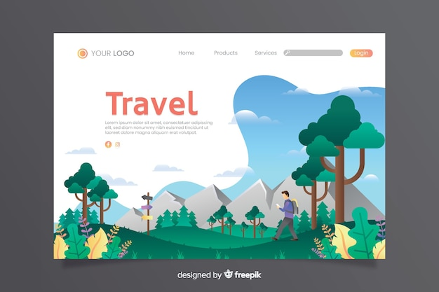Travel landing page with mountains