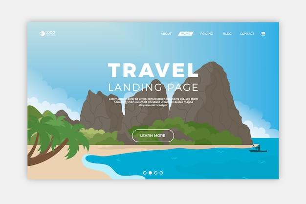 Pagina di destinazione di viaggio con le montagne