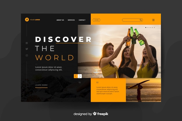 Travel landing page with photo concept