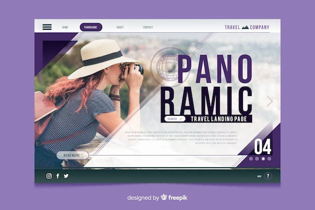 Travel landing page with photo design