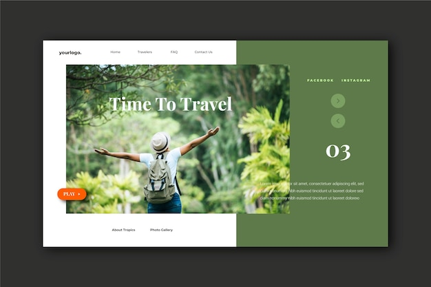 Travel landing page with photo of man in nature