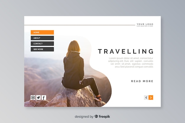 Travel landing page with photo template