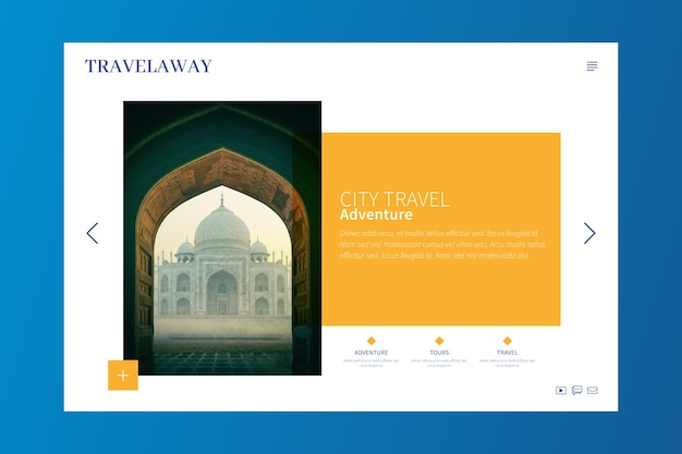 Travel landing page with photo