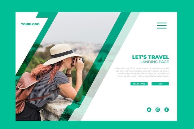 Travel landing page with pic