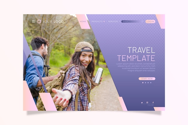 Travel landing page with picture