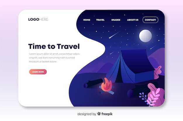 Travel landing page with a tent