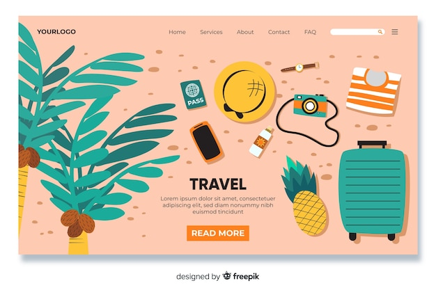 Travel landing page with travel objects