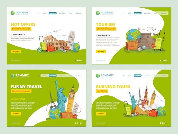 旅行のランディングページ。旅行者のウェブサイトのビジネステンプレートアプリのレイアウトベクトルの歴史的ランドマークの興味のあるポイント