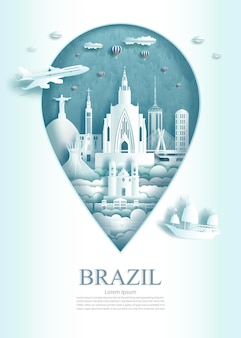Travel landmark brazil architecture monument pin of brasil in rio de janeiro famous with modern and ancient city building business landmarks of architecture. vector illustration pin point symbol.