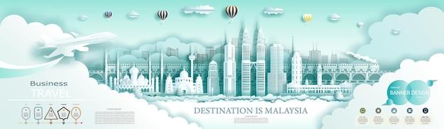 Путешествие ориентир малайзии верхней части всемирно известного города древней и современной архитектуры. с инфографикой. экскурсия по малайзии достопримечательности азии с популярным горизонтом.