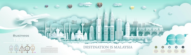 Travel landmark malaysia top world famous city ancient and modern architecture. with infographics.tour malaysia landmarks of asia with popular skyline.
