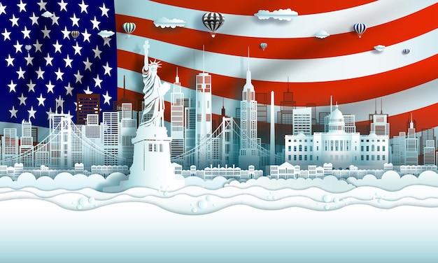 종이 아트지 컷 스타일로 맨해튼과 샌프란시스코에있는 미국의 랜드 마크 건축물 여행